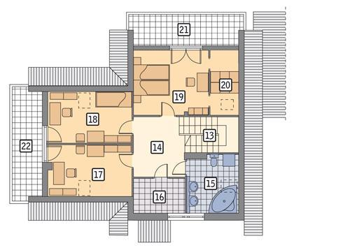 Rzut poddasza POW. 92,1 m²