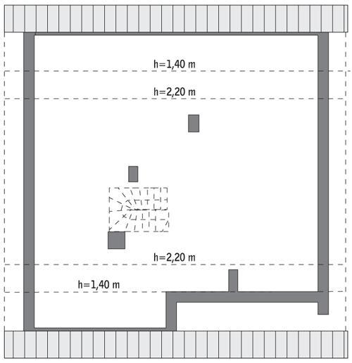 Rzut poddasza: do indywidualnej adaptacji (88,5 m2 powierzchni użytkowej)