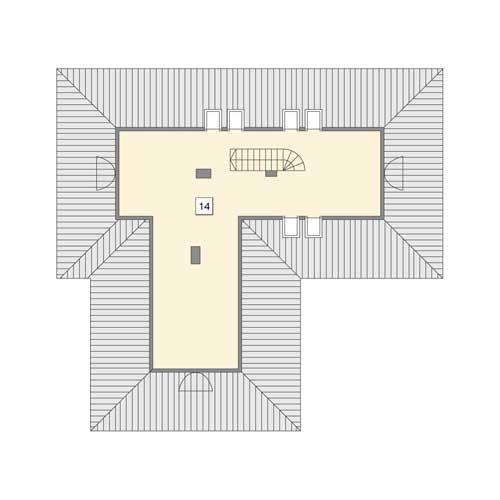 Rzut poddasza: II etap realizacji - do indywidualnej aranżacji (23,6 m2 powierzchni użytkowej)
