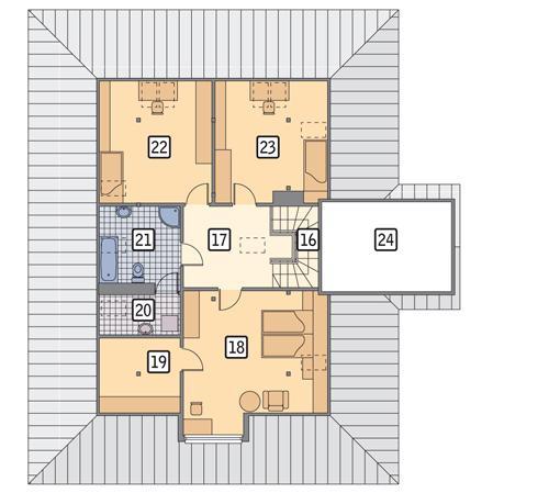 Rzut poddasza POW. 101,5 m²