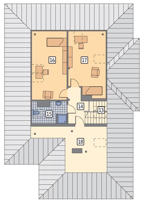 Rzut poddasza POW. 106,4 m²
