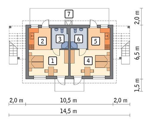 Rzut parteru POW. 52,8 m²