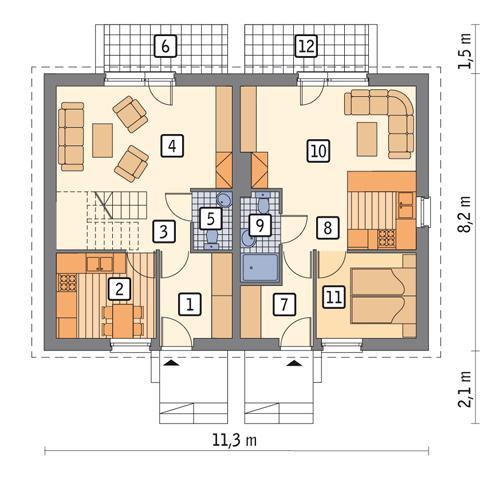 Rzut parteru POW. 69,2 m²